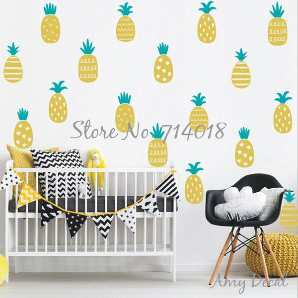 Pineapple Wall Decals 2 Color Gold Stickers For Kids Bedroom Baby Nursery