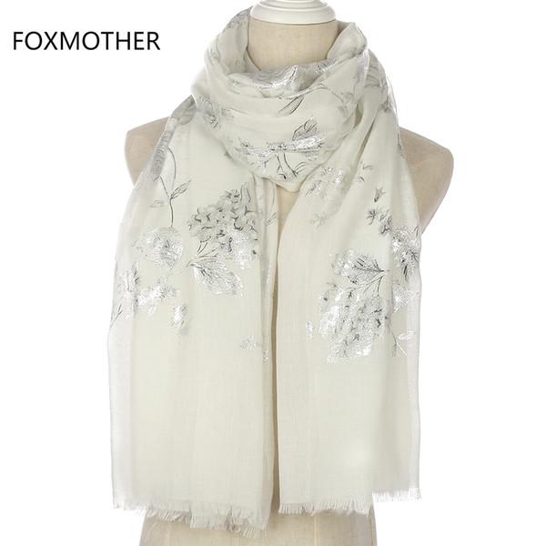 FOXMOTHER Yeni Moda Parlak Siyah Pembe Çiçek Desen Glitter Folyo Gümüş Uzun Başörtüsü Saçak Eşarp Bayan Bayanlar Için S18101904