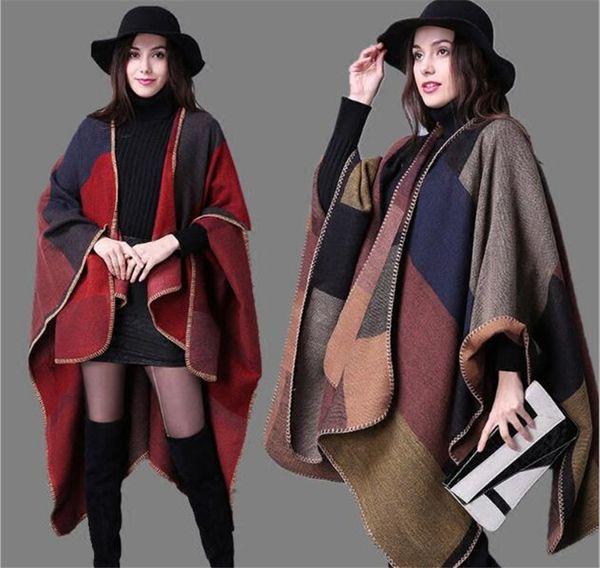 Plaid Poncho Women Vintage Scarf Floral Wrap Knit Cashmere Scarves Lady Winter Cape Shawl Cardigan Blankets Cloak Coat Sweater M319