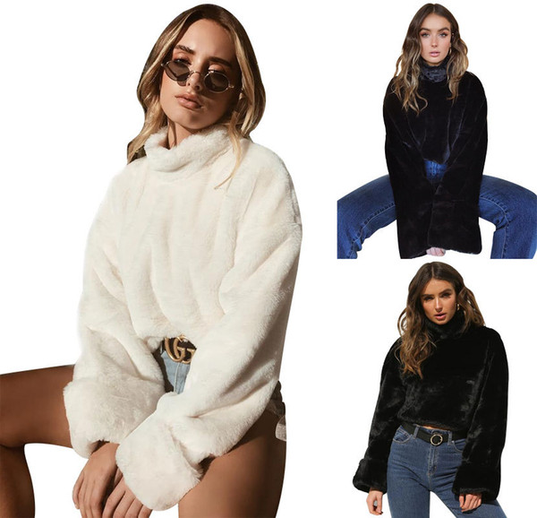 18 FW Women Fashion Downy Crop Tops Rabbit Hair Like Short Pullovers High Street Chic Women Clothes