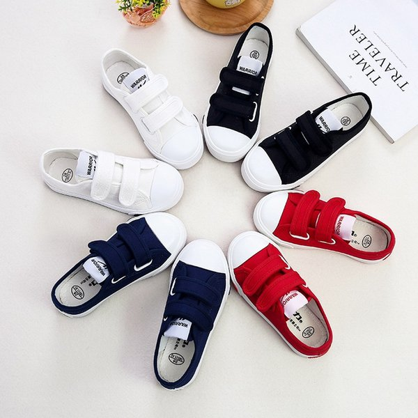 Children Athletic Warrior Canvas Shoes 4 Colors Girl Boys Skateboarding Magic Stick Casual Shoes Sports Shoes Free Shipping B0051