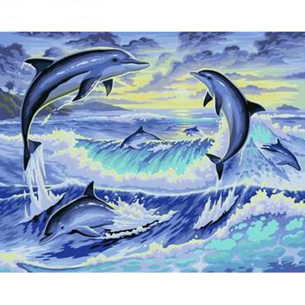 Dolphin Animals Diy Painting By Numbers Hand Painted Acrylic Paint On Canvas Calligraphy Painting For Home Decor 40x50