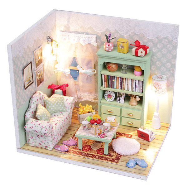 Wholesale  Handmade Diy Doll House Kits Furniture Miniatura Diy Miniature  Assemble Dollhouse Wooden Toy For