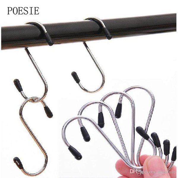 Wholesale- New Arrival 4pcs/lot S Shaped Hooks Stainless Steel Hanger Clasp Rack For Clothes Pot Pan Kitchen Hooks Clasp Holder