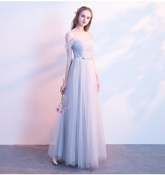 Cheap Long Bridesmaid Dresses Off Shoulder A Line Formal Dress Tull To Party plus size Maid of Honor Gowns