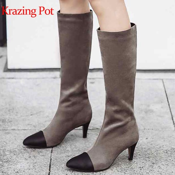 Krazing pot 2018 flock stretch fashion boots style slip on thin high heels pointed toe large size gorgeous knee-high boots L6f1
