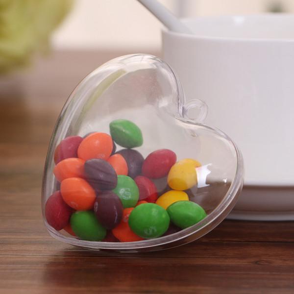 1 pcs Romantic Love Heart Design Ball candy box Transparent Can Open Plastic Clear Bauble Ornament Christmas Decorations