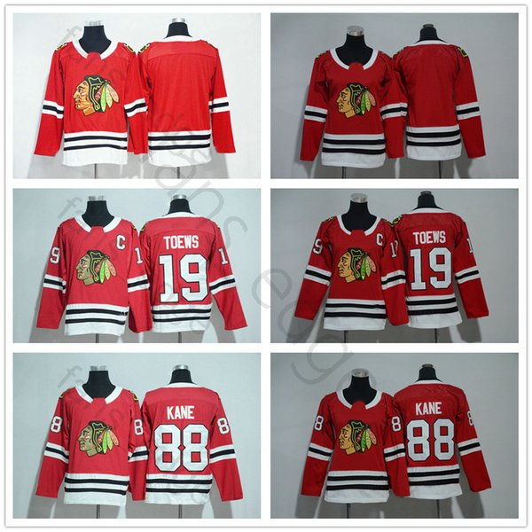 2018 New Chicago Blackhawks Jerseys de hockey sobre hielo 19 Jonathan Toews 88 Patrick Kane Local Rojo Blanco Hombres Mujeres Niños Juventud Jerse