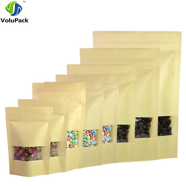 Multi Sizes 100pcs Herb Coffee Tea Retail Zip Lock Storage Bag w/ Clear Window Reclosable Brown Kraft Paper Stand Up Pouches