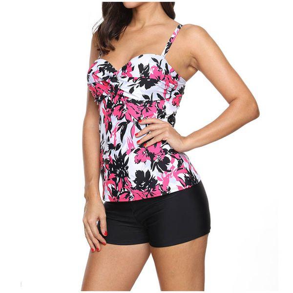 Female Floral Leaves Print Long Sport Swimsuit High Waist Trunks Bikinis Set Wrap Swimwear For Women Brazilian Bathing Suits