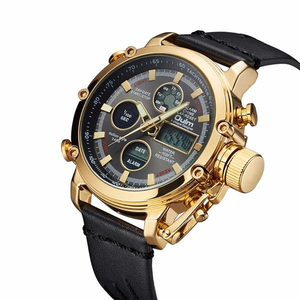 Oulm Marca de Relógio De Quartzo Esporte Relógios Homens Analógico Digital Dual Display Relógio Masculino Relógio de Couro Genuíno LED À Prova D 'Água relógio de Pulso