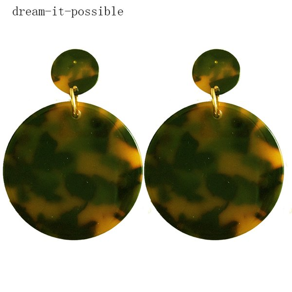 Dream-it-possible charm new big cheap 2018 Fashion geometic Women Long Acrylic Resin round leapord Pendientes Pendientes joyas