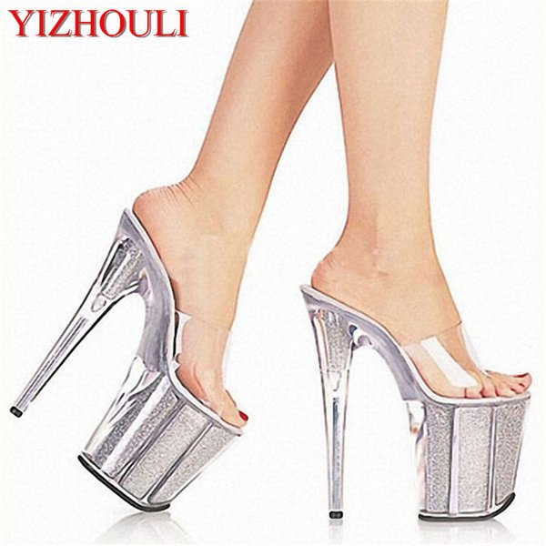 Sexy Women Crystal Slippers New Fashion 8 Inch High Heels Sandals Platforms Glitter Shoes