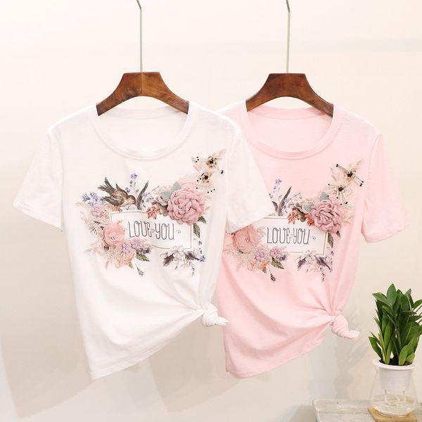 Summer Fashion Women T Shirt Bird Flower Bordado Encaje Rosa Blanco T-shirt Mujeres Tops