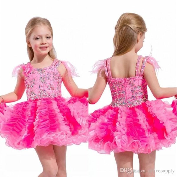 Cute Short Toddler Girls Pageant Dresses With Feathers On The Shoulders Little Girl Cupcake Skirt Baby Girl Short Dresses For Birthday Party