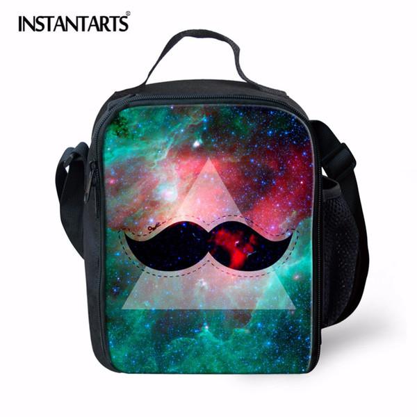 INSTANTARTS Insulated Picnic Bag Kids Thermal Bag for Women Men Galaxy Star Design Outdoor Camping Lunch Box Tote Handbag