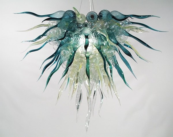 Contemporary Handmade Blown Glass Chandeliers Oliver Green Latest Designer Chain Pendant Light LED BUlbs Chihuly Style Chandelier Lighting