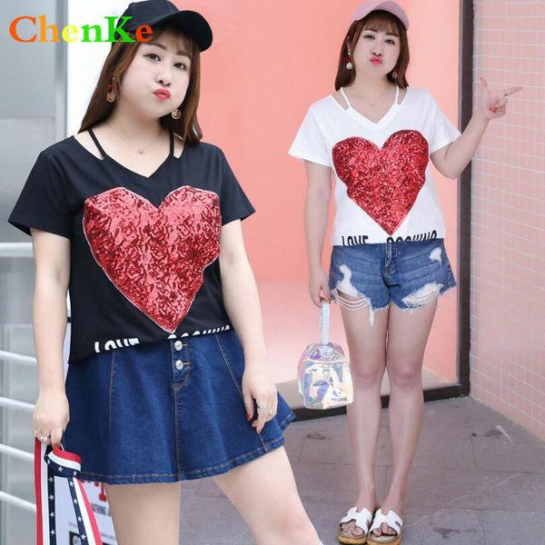 ChenKe T Gömlek Kadın Yaz 2018 Kısa Dleeve O-Boyun Aşk Tee Gömlek Moda Rahat Pamuk Plu Boyutu T-shirt Kadın Üstleri Giysileri