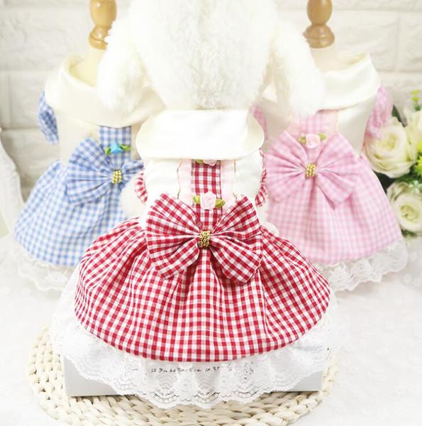 Nouvelle fleur chien vêtements fleur décorer bowknot robe été belle grille jupe été gilet pour chihuahua en peluche