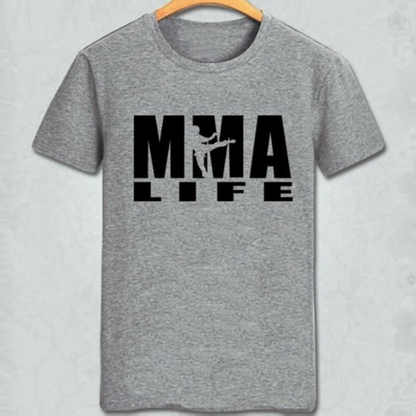 MMA t shirt Mixed Martial Arts life cool words short sleeve gown Street leisure tees Unisex clothing Pure color cotton Tshirt