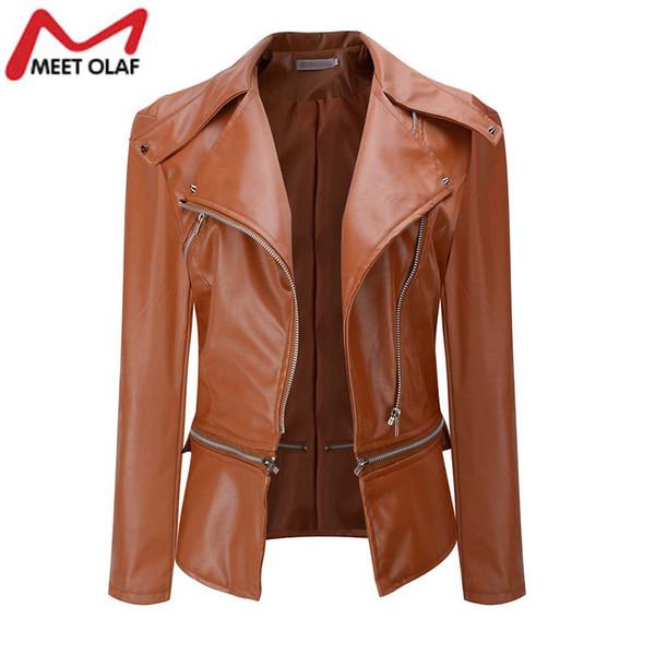Leather Jacket Women Soft PU Faux Leather Bomber Jackets Motorcycle Biker Short Coats Jaqueta Feminina Plus Size 3XL YL377