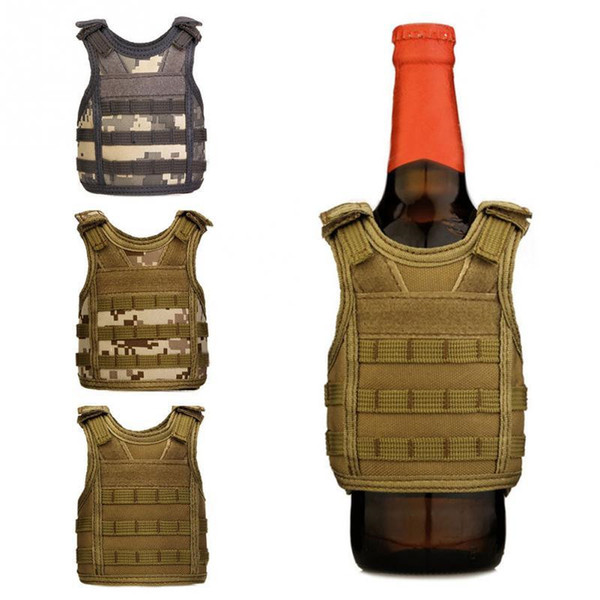 Creative Tactical Beer Beverage Bottle Cooler Vest Molle Mini Hunting Vests Model Cup Sleeve Beverage Coolers adjustable shoulder straps