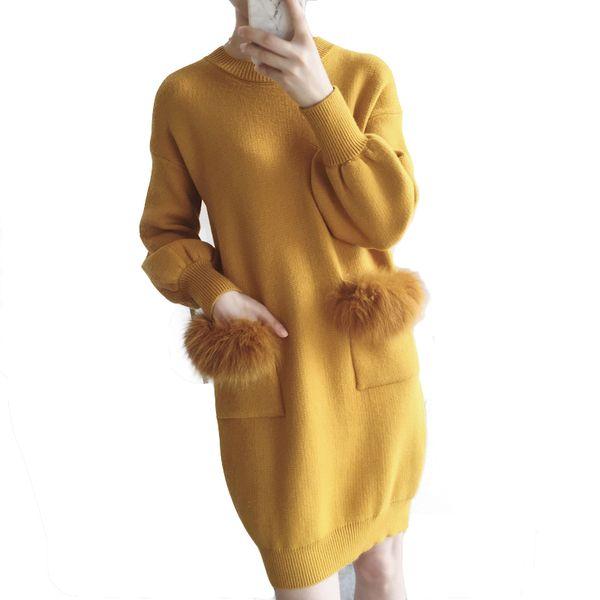 Invierno 2018 suéter de mujer de piel Suéter largo Otoño de mujer jerseys de manga larga pull femme Suéteres suéteres sueltos