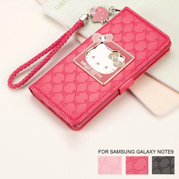comprare on line 12fde c37ab Custodia Galaxy S Moda Donna Samsung Galaxy Note8 9 S8 S9 Cassa Del  Telefono Di Lusso Portafoglio Hello Kitty Magnetica Di Vibrazione Del Cuoio  Nota9 ...