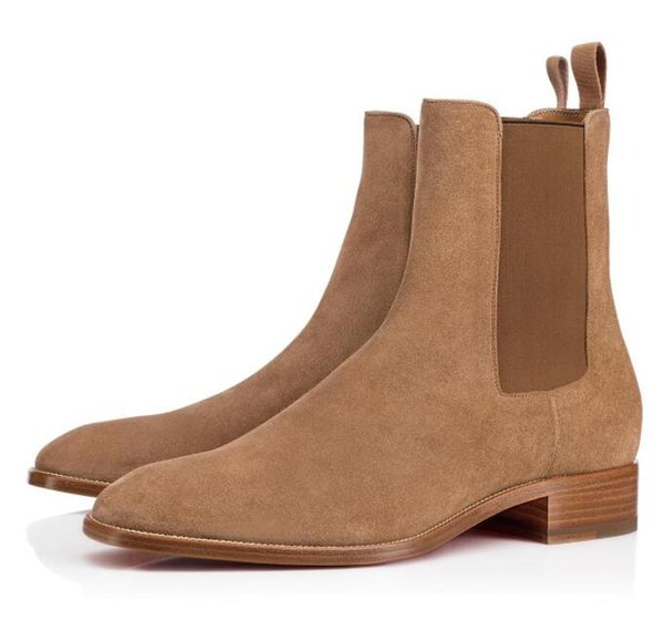Super Quality Ankle Boot For Men Red Bottom Samson Boots Man Booties Walking Flats,Luxury Brand Fall/Winter Retro Boots EU35-47
