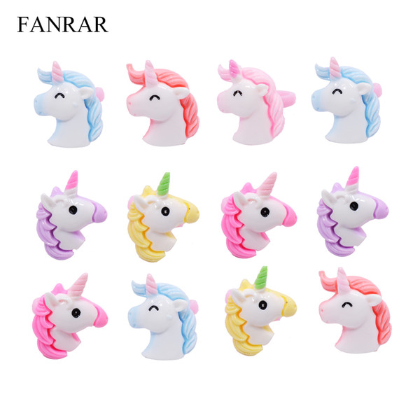 Wholesale Resin Jewelry 20PCS Kids Baby Rings Lovely Animal Unicorn Horse Open Ring For Children Girls Adjustable Party Gift