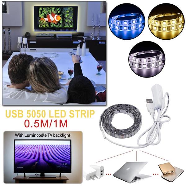 DC5V 50CM / 1M Cavo USB Cavo di alimentazione LED striscia di nastro SMD 5050 bianco / RGB Christmas desk Decor lampada nastro per illuminazione di sfondo TV