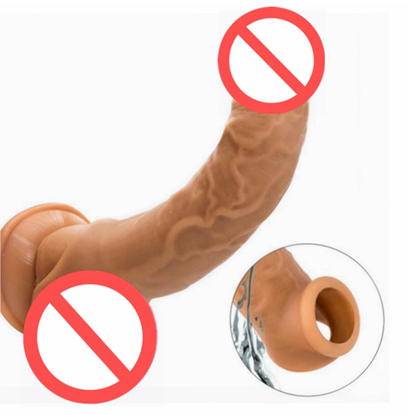 top popular Erotic Toys Male Penis Extender Enlargement Reusable Penis Sleeve Sex Toys For Men Adult Lasting Product Cock Ring Delay Sex Product 2021