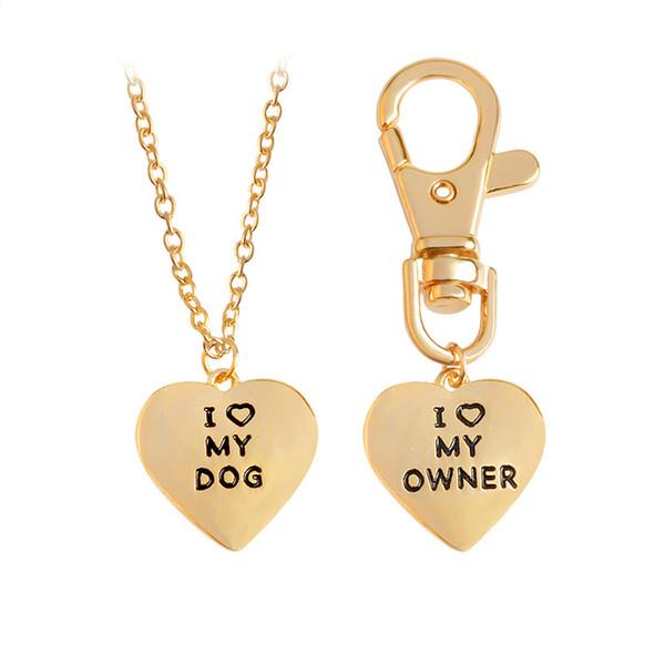 Hot Sale New 2Pcs/set Best Friends Friendship Love Heart Necklaces Key Chains Owner Dog Letter Pendant Jewelry Key Rings