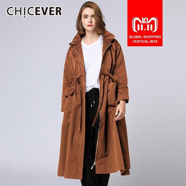 CHICEVER 2018 Herbst frauen Windjacke Trenchcoat Weibliche Stehkragen Langarm Hohe Taille Lace Up Reißverschluss Windjacke