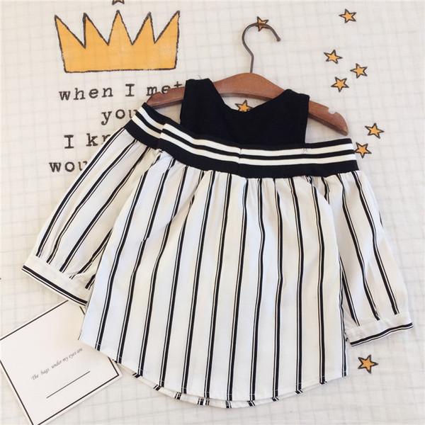 Kids Shirt Spring Summer Girl Shoulder off Shirt Gril Long Sleeve Stripe Top Off-Sleeve Clothing 5p