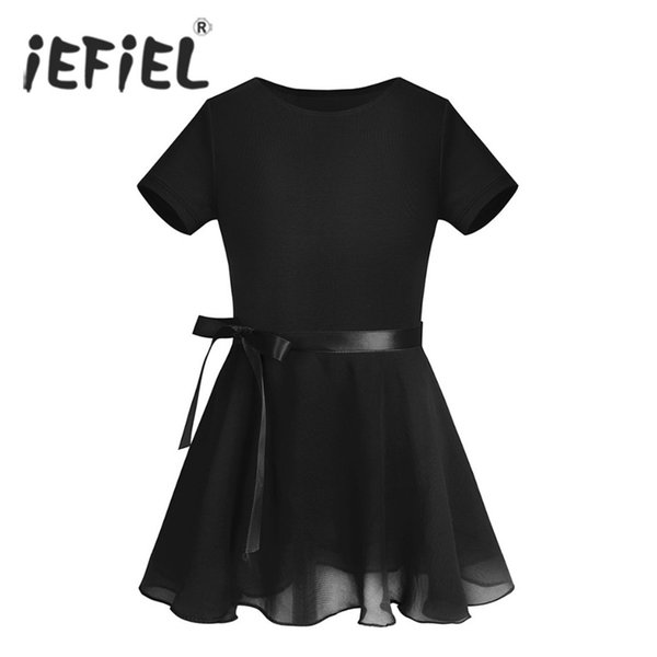 iEFiEL Kids Cotton Ballet Dancewear Gymnastics Leotard Professional Ballet Tutu Dress with Chiffon Tied Skirt Leotards for Girls