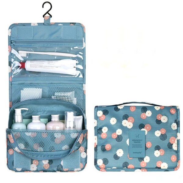 Portable Foldable Makeup Bag With Hanger Travel Cosmetic Bag Toiletry Bathroom Wash Storage Organizer Cosmetic Pouch Hanging Bag