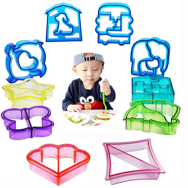 10pcs Sandwich Cutter Mold Toast Cookie Bread Presses Set DIY Baking Cake Dinosaur Dolphin Puppy Car Animal Shapes for Kids Bento Lunch