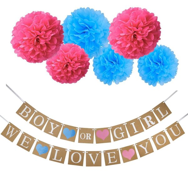 Boy or Girl Banner Gender Reveal Flag Tissue Paper Poms Flower for Baby Shower Decorations Gender Reveal Party Favors Pregnancy Announcement