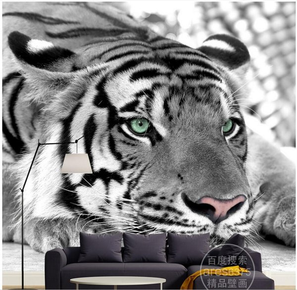 3d wallpaper custom photo mural Modern personality black and white tiger background home decoration 3d wall murals wallpaper for walls 3 d