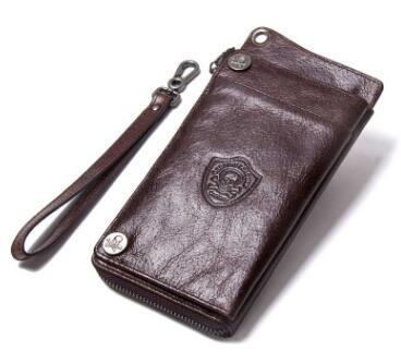 Genuine Leather Wallet Large Capacity Men Purse Long Clutch Men Wallets With Zipper Coin Phone Pocket High Quality
