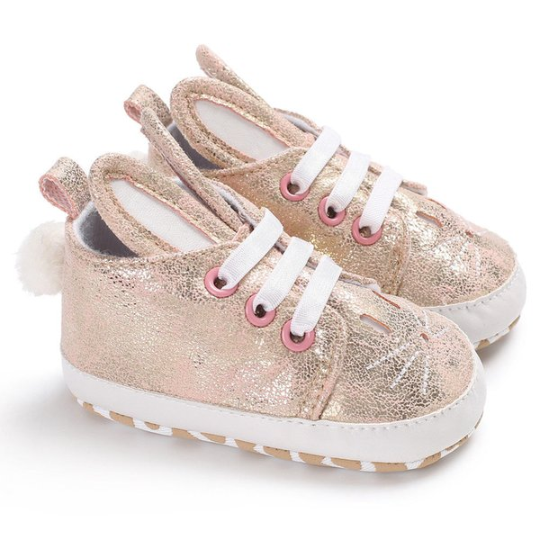 Fashion Bling Rabbit Shoes Baby Shoes Girls Boys PU Soft Casual Baby First Walkers White Black Orange