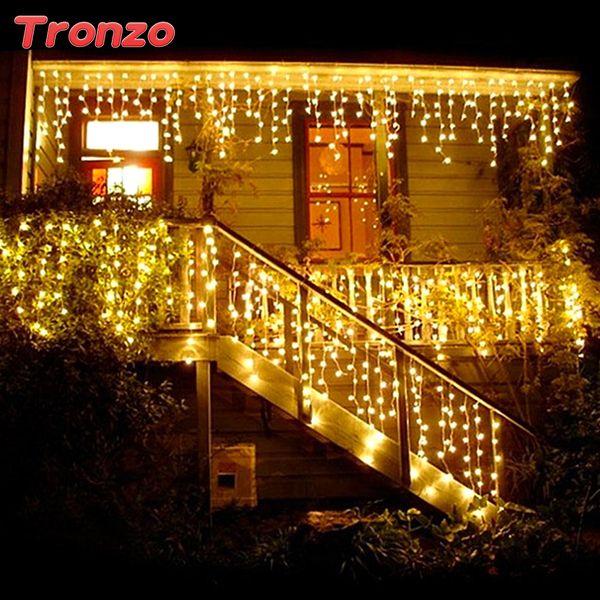 Tronzo Diy Baum Led-Licht Ornament 4 mt Multicolor Eiszapfen Vorhang Party Hochzeit Dekoration Lichter Für Zuhause 2017 Eu-stecker