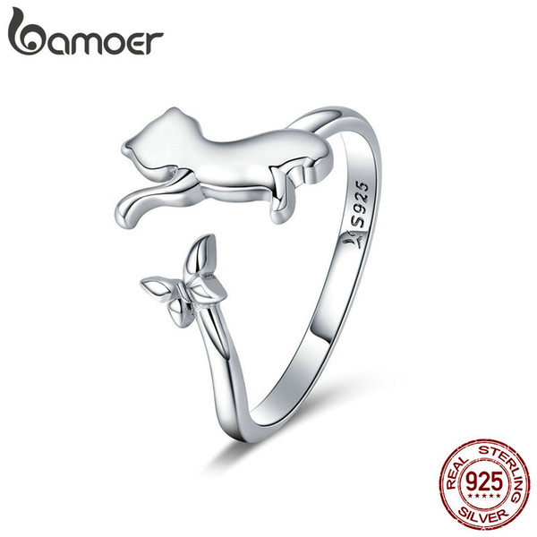 925 Sterling Silver Butterfly Tail Cat Adjustable Finger Ring for Women Jewelry Wedding Anniversary Valentine's Day Couple Gift