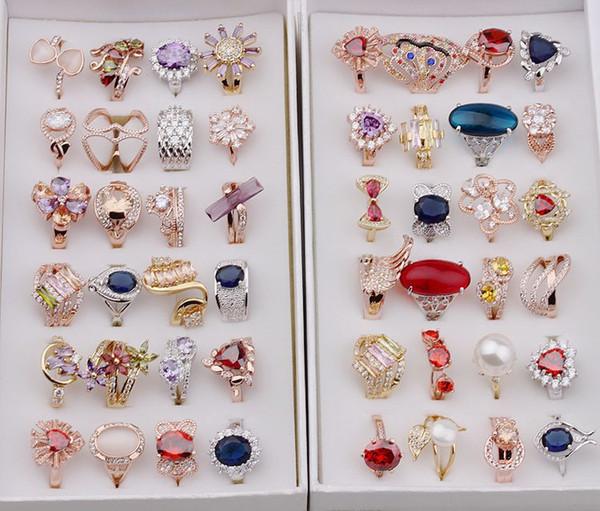 Karışık Tasarım Yüzükler - Kadınlar Lüks Gül Altın Şerit Kaplama Yüzükler Faux Opal Turkuaz Değerli Taşlı Cam Paslanmaz Çelik Takı