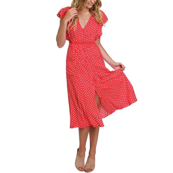 Mulheres Imprimir Vestidos Longos Casual Holiday Beach Dress Polka Dot Impresso Lotus Folha Manga Dividir Vestidos de Verão