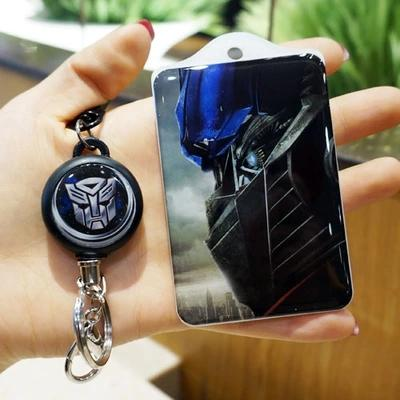 Animation cartoon hard bus card sets of acrylic steel wire scalable easily buckle keychains bank card