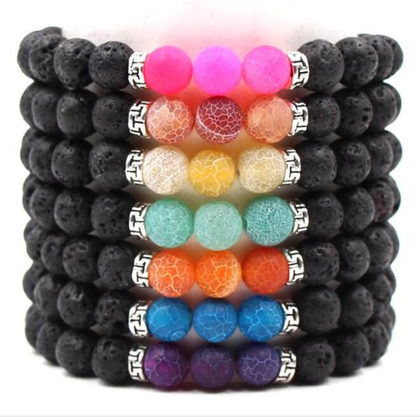 JLN Lava Tibet Accessory Braccialetto Agenti atmosferici Sette Chakra Power Beads Handmade Stretch Bracelet per uomo e donna