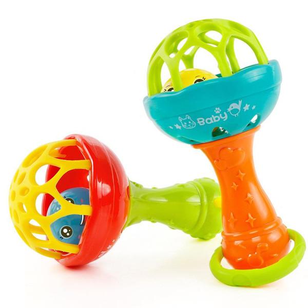 Bebê Grasping Gums Sino De Mão De Plástico Chocalho Engraçado Mobiles Educacionais Brinquedos Presentes de Aniversário WJ482