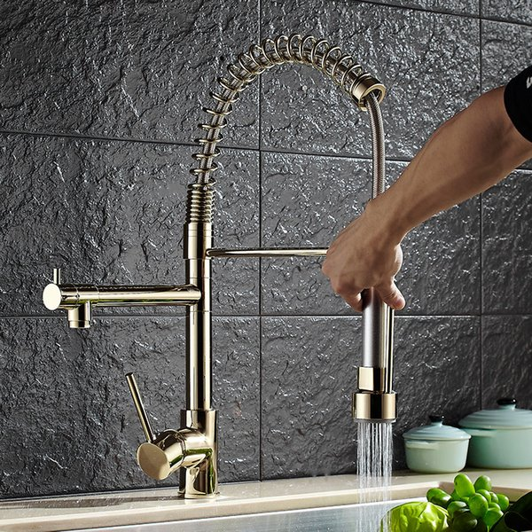 2019 Luxury Gold Color New Kitchen Faucet Tap Two Swivel Spouts Extensible  Spring Mixer Tap Gold Pull Out Down Kitchen Sink Faucet From Rudelf, ...